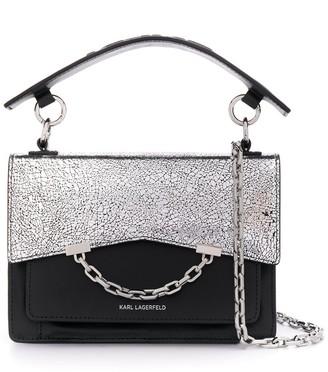 Karl Lagerfeld Paris cracked leather shoulder bag
