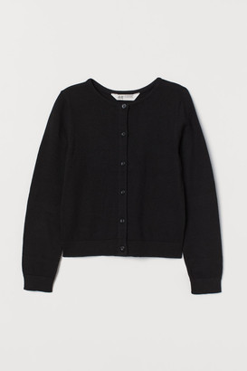 H&M Fine-knit Cotton Cardigan - Black
