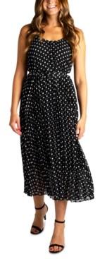 Robbie Bee Petite Pleated Dot-Print Fit & Flare Dress
