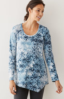 J. Jill Pure Jill Dipped-Hem Print Top
