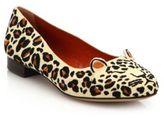 Charlotte Olympia Leopard-Print Linen Kitty Flats