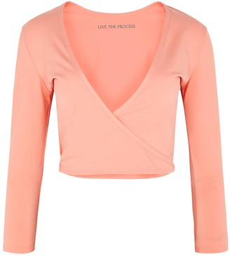 Live The Process Zen Coral Stretch-jersey Wrap Top