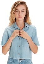 Mother Frenchie Cropped Fray Shirt