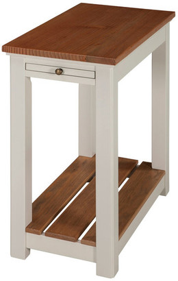 Bolton Furniture Savannah Chairside End Table w/ Pull-out Shelf, Ivory w/ Natural Wood