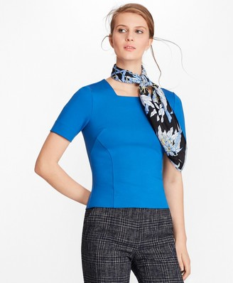 Brooks Brothers Ponte-Knit Squareneck Top