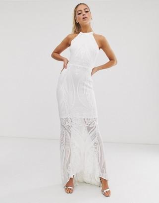 Club L London sequin cut away maxi dress-White