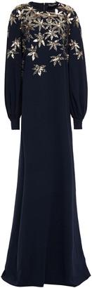 Oscar de la Renta Sequin-embellished Embroidered Silk-blend Crepe Gown
