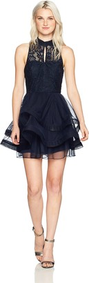 Speechless Women's High-Neck Party Dress with Wide Ribbon Hem