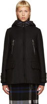 Moncler Black Wool Layered Coat