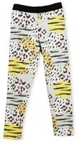 Kenzo Bess Animal-Print Stretch Jersey Leggings, Pink/Multicolor, Size 4-6