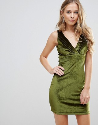 Wyldr Distractions Velvet Mini Dress With Front Pleating Detail