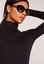 Missguided Gold Arm Cat Eye Sunglasses Black