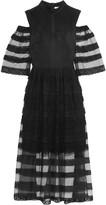 Vilshenko Luisa cutout lace-trimmed tulle midi dress