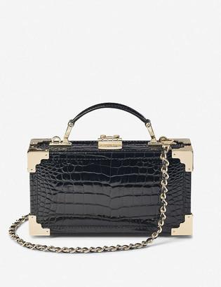 Aspinal of London Trinket Box crocodile-embossed leather crossbody bag