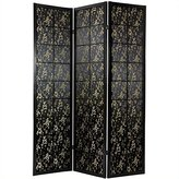 Oriental Furniture Oriental Furniture, 6-Feet Feng Shui Sateen Fabric Screen Room Divider with Chinese Calligraphy