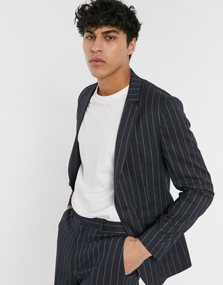 Asos DESIGN super skinny suit jacket in navy wide pinstripe