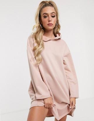 Asos Design DESIGN hoodie swing dress with concealed pockets-Beige