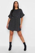 boohoo Plus Polka Dot Smock Dress