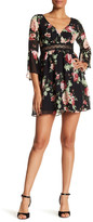Amy Byer A. BYER Print Bell Sleeve Baby Doll Illusion Dress