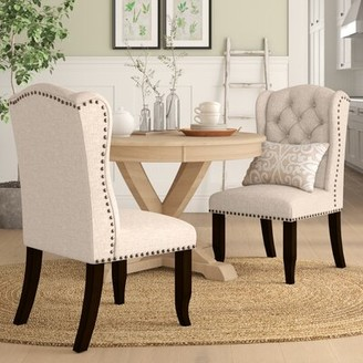 Birch Lane Calila Tufted Upholstered Wingback Side Chair in Beige Heritage