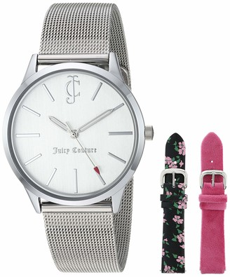 Juicy Couture Black Label Women's Silver-Tone Mesh Bracelet Watch and Interchangeable Strap Set