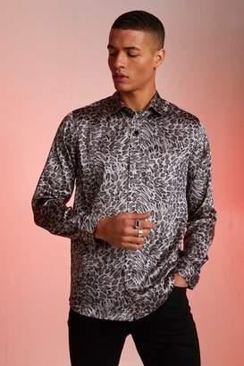 BoohoomanBoohooMAN Mens Grey Long Sleeve Light Weight Satin Animal Print Shirt, Grey