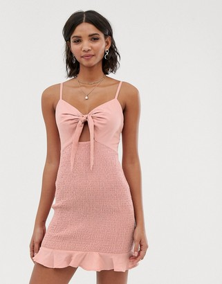 ASOS DESIGN bow front mini sundress with shirred skirt