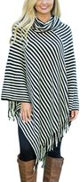 Dearlovers Womens Turtleneck Striped Knitted Poncho Causal Pullover Sweater Tops