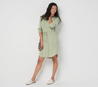 Side Stitch 3/4-Sleeve Shirt Dress with Tie Waist