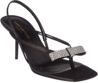 Saint Laurent Satin & Crystal Sandal