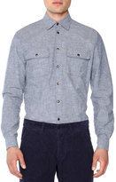 Tomas Maier Double-Pocket Felted Oxford Shirt, Blue