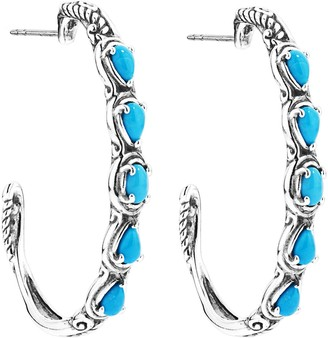 Carolyn Pollack Simply Fabulous Gemstone Hoop Earrings