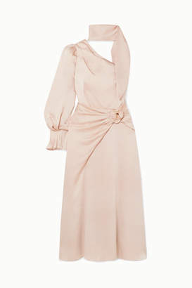 Peter Pilotto One-sleeve Hammered-satin Midi Dress - Cream