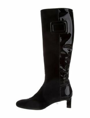 Roger Vivier Suede Riding Boots Black