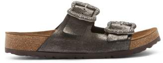 Marc Jacobs Grunge Two-Strap Glitter Leather Sandals