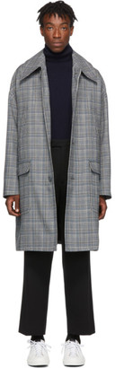 Givenchy Grey and Blue Check Mac Coat