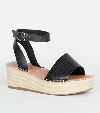 New Look Wide Fit Faux Croc Espadrille Flatform Sandals