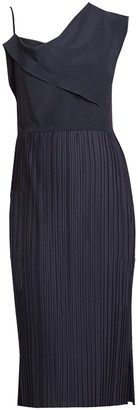 Black Silk Dress With Asymmetric Front Drape & Pleated Skirt