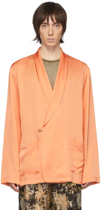 Dries Van Noten Orange Satin Shirt Blazer