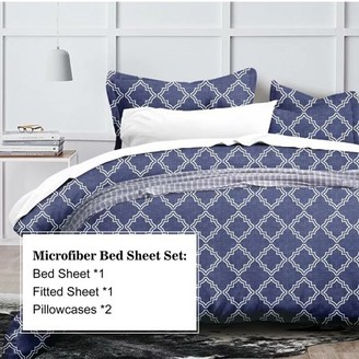 Hgmart HGMart Bed Sheet Set Collection - 4 Piece Brushed Microfiber Bedding Sheet Set - Fade and Stain Resistant Hypoallergenic Deep Pocket Bedspread Set - Blue, King Size