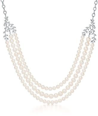 Tiffany & Co. Paloma Picasso Olive Leaf three-row pearl necklace in sterling silver