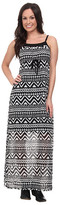 Roper 9592 Black/White Aztec Print Georgette Dress