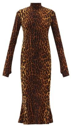 Norma Kamali Roll-neck Leopard-print Cotton-blend Jersey Dress - Animal