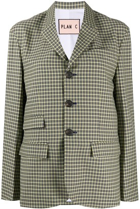 Plan C Single-Breasted Tartan Blazer