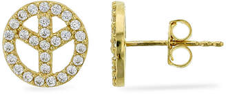 Fine Jewelry 1/2 CT. T.W. Simulated White Cubic Zirconia 14K Gold 8.9mm Peace Sign Stud Earrings