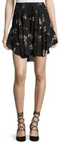 A.L.C. Ceri Floral Silk Drawstring Mini Skirt, Black/Multicolor