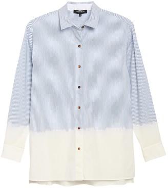 Lafayette 148 New York Everson Dip Dyed Pinstripe Shirt