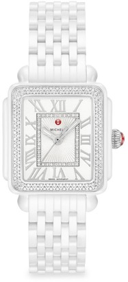 Michele Deco Madison Mid Ceramic & Diamond Bracelet Watch