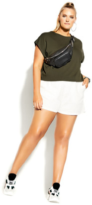 City Chic Relaxed Crop Top - khaki