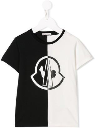 Moncler Enfant bi-colour logo print T-shirt